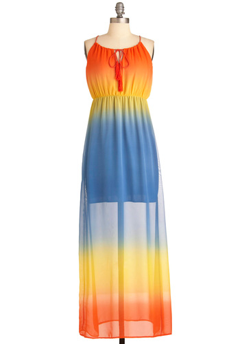 Rainbow Forest Dress - Long, Orange, Yellow, Blue, Party, Maxi, Summer, Sheer, Cutout, Racerback