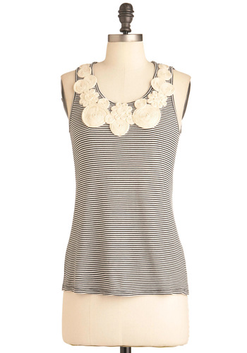 Around the Swirl Top - White, Stripes, Cutout, Flower, Tank top (2 thick straps), Black, Mid-length, Summer, Travel