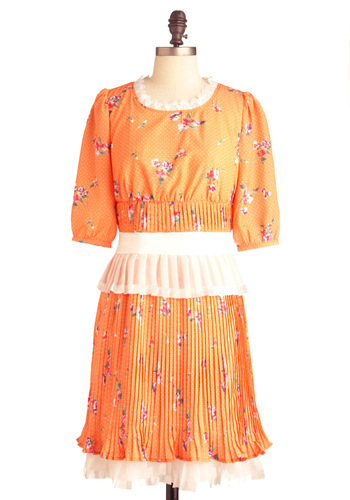 Peach Pie Dress - Mid-length, Orange, Tan / Cream, Polka Dots, Floral, Pleats, Shift, 3/4 Sleeve, Multi, Tiered, Pastel