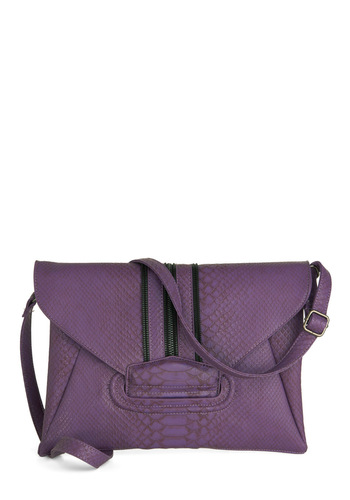 Vio-let Your Hair Down Bag - Purple, Exposed zipper, Urban, Solid