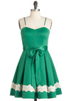 Emerald Smile Dress - Mid-length, Green, White, Solid, Pleats, Trim, Party, Vintage Inspired, Spaghetti Straps, Belted, Fit & Flare, A-line, Cocktail, Holiday Party, Sweetheart, Tis the Season Sale