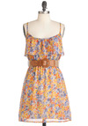 Plum One, Plum All Dress - Mid-length, Multi, Orange, Yellow, Blue, Floral, Party, A-line, Spaghetti Straps, Summer, Belted, Ruffles, Sheer