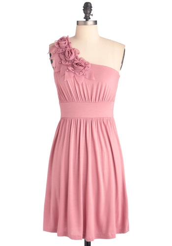 The Right Mauve Dress - Mid-length, Pink, Solid, Flower, Pearls, Wedding, Party, One Shoulder, Pastel, Prom, Bridesmaid