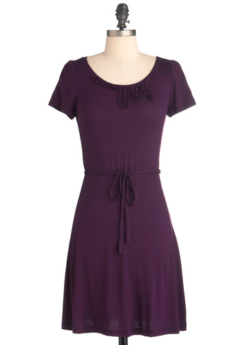 Wine by Me Dress - Short, Purple, Solid, Trim, Casual, Shift, Short Sleeves