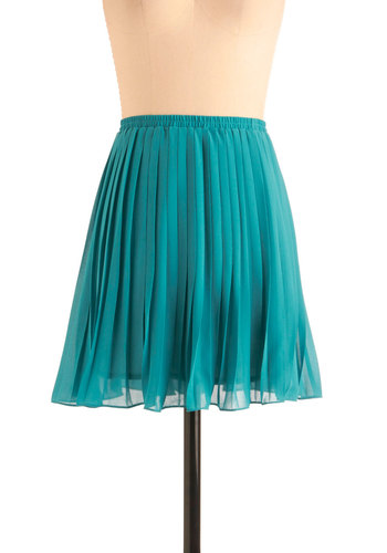 As You Swish Skirt in Teal - Blue, Solid, Pleats, Party, Short