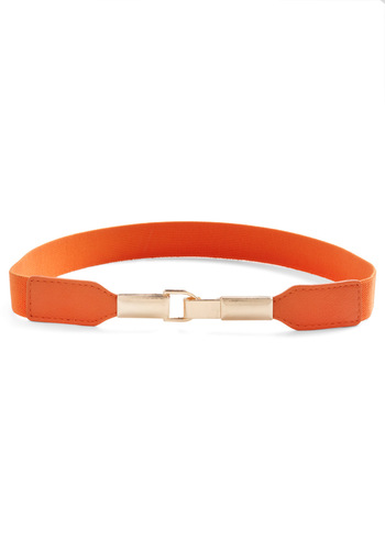 Pretty in Link Belt in Orange - Orange, Solid, Casual, 80s, Gold