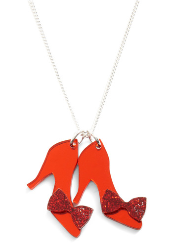 Ruby Two Shoes Necklace - Red, Silver, Solid, Bows, Kawaii, Glitter