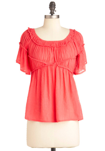 Refreshingly Rhubarb Top - Short, Pink, Solid, Boho, Short Sleeves