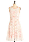 Lace to Meet You Dress - Long, Pink, Lace, Party, A-line, White, Floral, Tank top (2 thick straps), Spring, Sheer, Coral