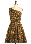 State Your Opinion Dress in Leopard - Mid-length, Yellow, Brown, Animal Print, Party, One Shoulder, Fit & Flare, Cotton, Daytime Party, Variation