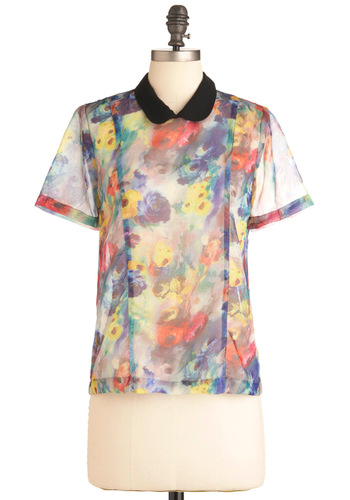 Rose Watercolors Top - Party, Vintage Inspired, Mid-length, Multi, Red, Yellow, Green, Blue, Floral, Peter Pan Collar, Short Sleeves, Black