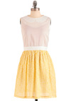 Lauren Moffatt Sprinkling of Summertime Dress by Lauren Moffatt - Mid-length, Yellow, White, Exposed zipper, Peter Pan Collar, Party, Vintage Inspired, A-line, Sleeveless, Summer, Sequins, Pastel, Glitter, Sheer, Cotton, Collared
