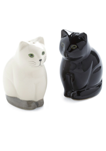 Salt and Pep-purr Shaker Set - Black, Solid, Quirky, White, Holiday Sale
