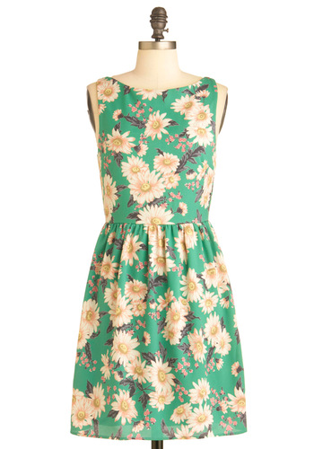 Daisy Gone By Dress - Mid-length, Multi, Yellow, Green, Brown, Floral, Sleeveless