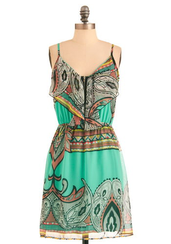 Paisley Your Own Way Dress - Mid-length, Tan / Cream, Black, Exposed zipper, Casual, Spaghetti Straps, Summer, Multi, Green, Paisley, Ruffles