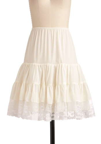 Let's Turn Up the Volume Petticoat in White - Mid-length, Party, White, Solid, Lace, Exclusives, Wedding
