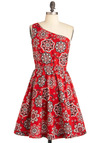 State Your Opinion Dress in Bandana - Mid-length, Red, Black, White, Print, Party, One Shoulder, Fit & Flare, Summer, Cotton, Daytime Party, Variation