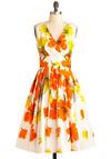 Glamour Power To You Dress in Flower Bed - Long, Orange, Yellow, Green, Floral, Pleats, Party, Sleeveless, Summer, Fit & Flare, White, Cocktail, Cotton, Daytime Party, V Neck