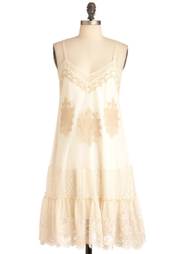 Secrets of Your Sol Dress by Ryu - Mid-length, Cream, Tan / Cream, Embroidery, Wedding, Party, Shift, Spaghetti Straps, Ruffles, Slip