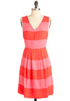 Guava Pop Dress - Mid-length, Pink, Stripes, Exposed zipper, Party, A-line, Sleeveless, Summer, Orange