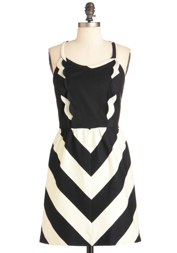 Stationery Show Dress - Short, Black, White, Stripes, Scallops, Party, A-line, Spaghetti Straps, Summer, Tis the Season Sale