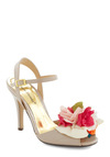 Dance Around the Bloom Heel - Cream, Multi, Solid, Flower, Mid, High, Party