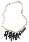 All Hannahs on Deck Necklace by Tatty Devine - Black, Gold, Solid, Urban, Statement