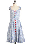 Brunch with Buds Dress in Wildflowers by Emily and Fin - Long, Red, White, Floral, Buttons, Sleeveless, Vintage Inspired, Fit & Flare, Exclusives, Cotton, Blue, Sweetheart, Casual, Daytime Party, Pockets, Button Down, International Designer