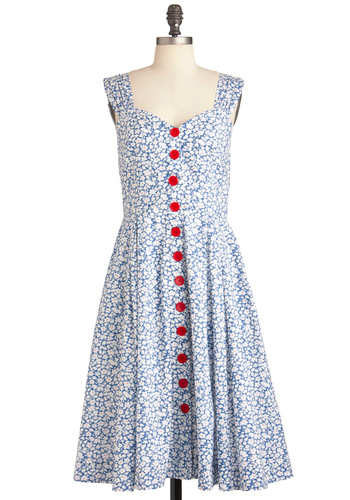 Brunch with Buds Dress in Wildflowers by Emily and Fin - Long, Red, White, Floral, Buttons, Sleeveless, Vintage Inspired, Fit & Flare, Exclusives, Cotton, Blue, Sweetheart, Casual, Pockets, Button Down, International Designer