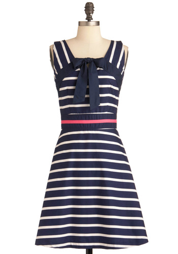 Mod for Mini Dress by Trollied Dolly - Mid-length, Pink, White, Stripes, Bows, Party, A-line, Sleeveless, Blue, Nautical, Vintage Inspired, 60s, International Designer