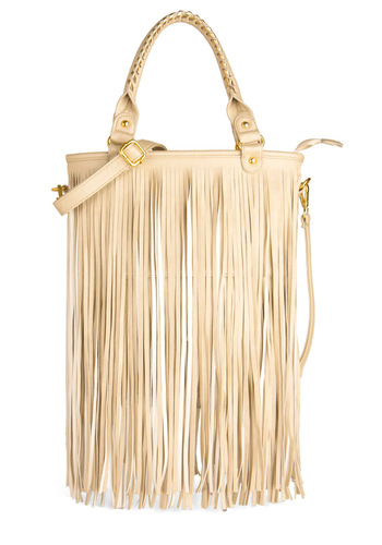 Fest Friends Bag - Cream, Solid, Fringed, Casual, Boho, 70s