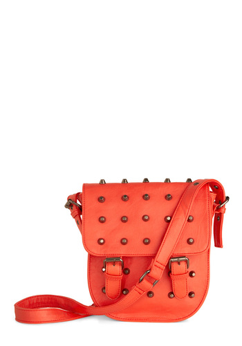 Stud-y Session Bag - Orange, Solid, Buckles, Studs, Urban, Girls Night Out