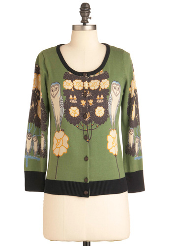 Barn This Way Cardigan in Oregano by Knitted Dove - Mid-length, Green, Owls, Long Sleeve, Yellow, Brown, Print, Casual, Cotton, Button Down, Quirky