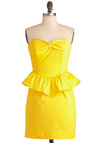 The Zest Is Yet to Come Dress - Yellow, Solid, Bows, Exposed zipper, Party, Strapless, Summer, Peplum, Mid-length, Sweetheart, Scoop, Prom