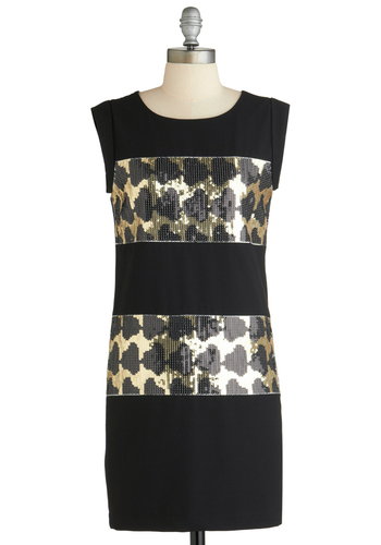 Sample 1841 - Black, Gold, Print, Sequins, Party, Sheath / Shift, Sleeveless