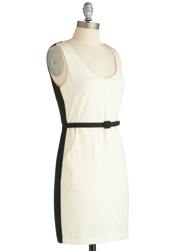 Sample 1836 - Black, White, Solid, Pockets, Sheath / Shift, Tank top (2 thick straps), Belted