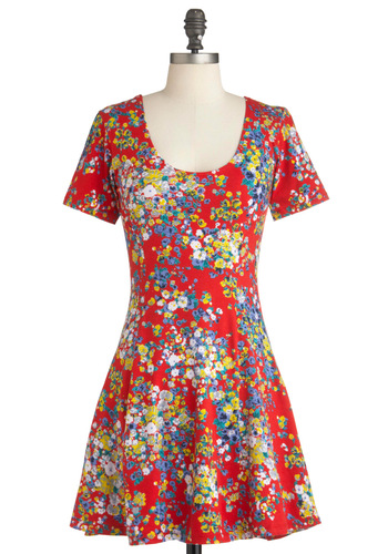 Chicka Bloom Dress in Red by Motel - Short, Multi, Floral, Party, A-line, Short Sleeves, Red, Cotton