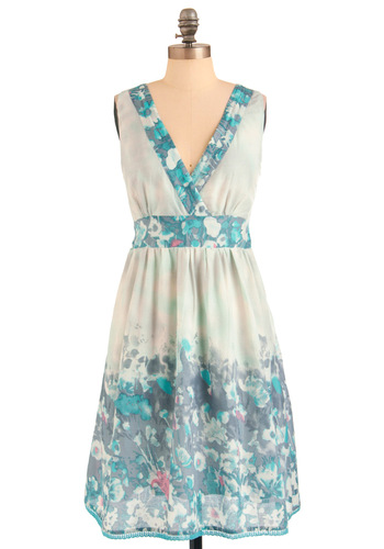 Palette of Petals Dress in Mint - Blue, Purple, Pink, Floral, Casual, Summer, Long, Multi, Green, Multi, A-line, Sleeveless, Mint, V Neck