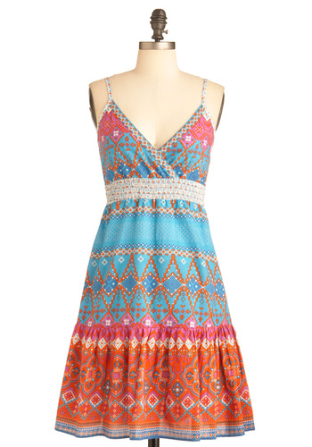 East Meets Dress - Multi, Orange, Blue, Pink, White, Print, Casual, Empire, Spaghetti Straps, Summer, Mid-length