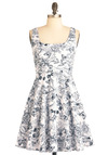 Very Berry Charming Dress in Black and White - Mid-length, Black, White, Floral, Novelty Print, Vintage Inspired, 50s, A-line, Tank top (2 thick straps), Daytime Party, Fit & Flare, Variation, Graduation, Scoop, Cotton, Summer