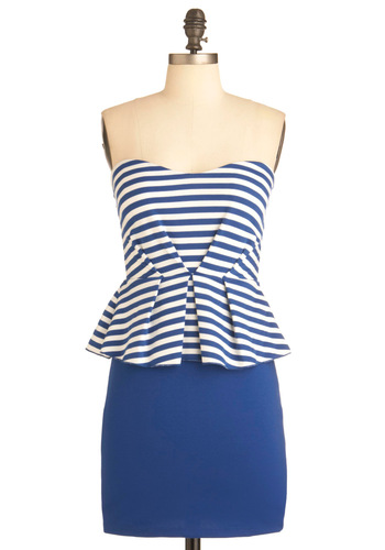 Swim Clubbing Dress - Short, Blue, White, Stripes, Pleats, Party, Nautical, Strapless, Summer, Peplum, Sweetheart