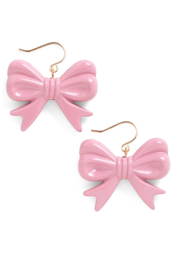 Hum a New Toon Earrings - Pink, Solid, Bows, Fairytale, Casual, Pastel, Top Rated