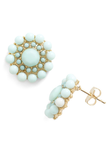 My Own Rendition Earrings in Mint - Green, Gold, Solid, Beads, Wedding, Top Rated