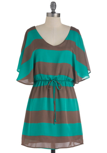 On Occasion Dress - Short, Green, Brown, Stripes, Casual, A-line, Short Sleeves