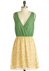 Sprigs to Mind Dress - Short, Yellow, Green, Floral, Twofer, Sleeveless, V Neck
