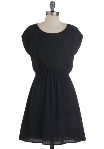 Zoo Won't Forget This Dress in Panther - Mid-length, Black, Solid, Cap Sleeves