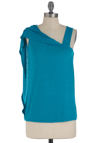 Queen of Cool Top - Blue, Solid, Casual, Sleeveless, Summer, Mid-length