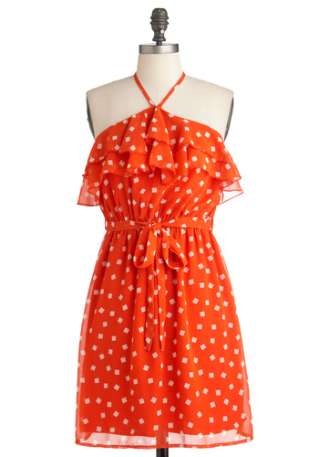 Tomato with Love Dress - Mid-length, Orange, Print, Ruffles, Party, A-line, Halter, Summer, Belted, White
