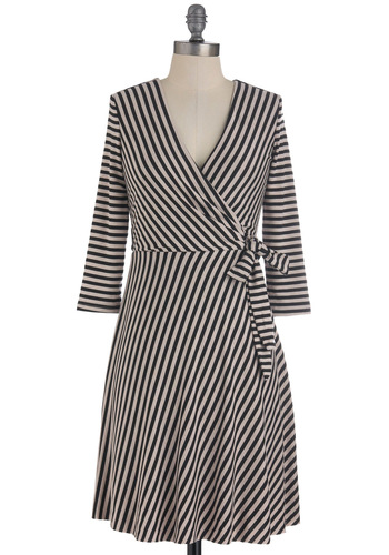 Surplice and Demand Dress - Mid-length, Tan / Cream, Black, Stripes, Wrap, Long Sleeve, Fall, Work, V Neck, Tis the Season Sale
