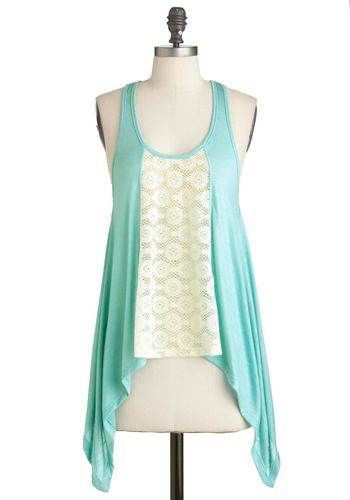 Outdoor Aquarium Top - Tan / Cream, Lace, Casual, Racerback, Green, Solid, Handkerchief, Summer, Mid-length